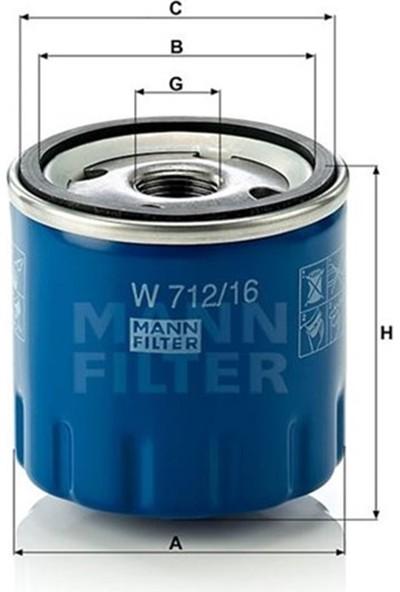 Mann Yağ Filtresi Fıat Panda Iı 169A 1.1 54HP 09-03- Mann W712.16