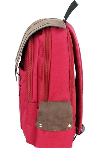 Master Pack Kadın Kırmızı Üstten Kapaklı Lüks Geniş Hacimli Günlük Okul Sırt Çantas