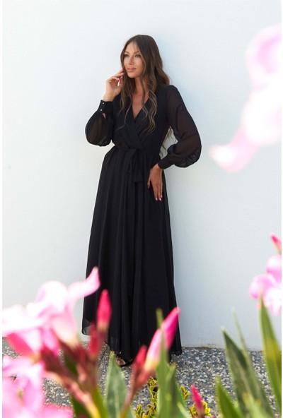 Carmen Siyah Şifon Kruvaze Uzun Abiye Elbise