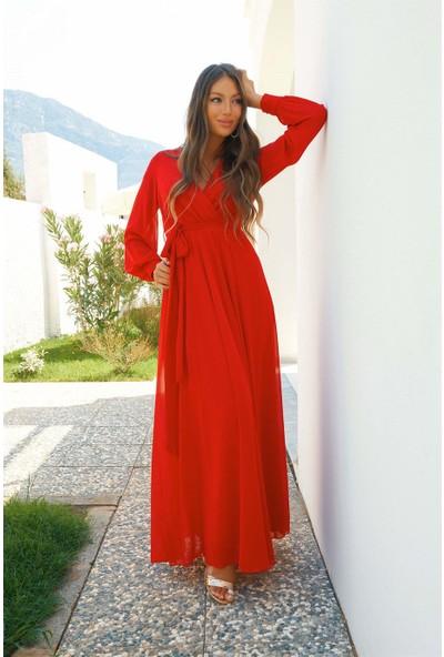 Carmen Kırmızı Şifon Kruvaze Uzun Abiye Elbise