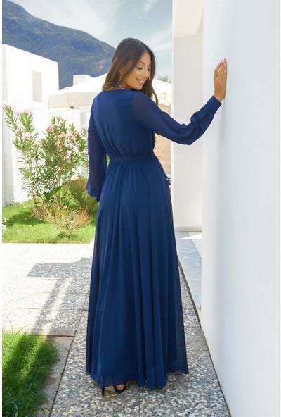 Carmen Lacivert Şifon Kruvaze Uzun Abiye Elbise