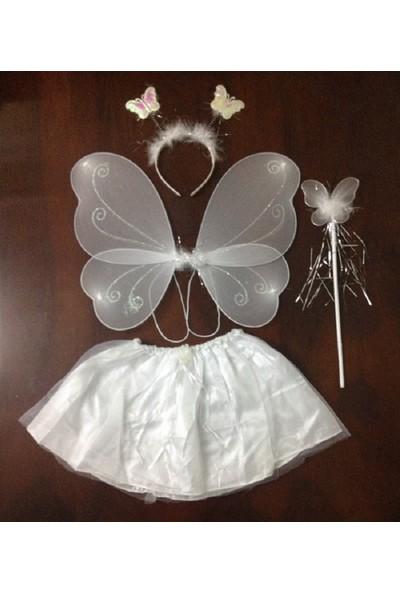 Tahtakale Market Etekli Kelebek Kostüm Seti Çocuk Boy Beyaz