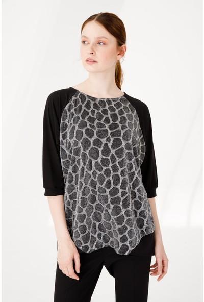 Desen Triko Kadın Sıfır Yaka Yarasa Kol Simli Penye Bluz Gri Siyah
