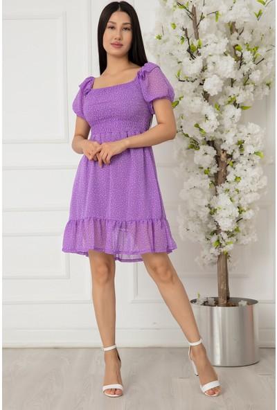 Kalopya Bayan Çakıl Desen Tül Elbise D1937