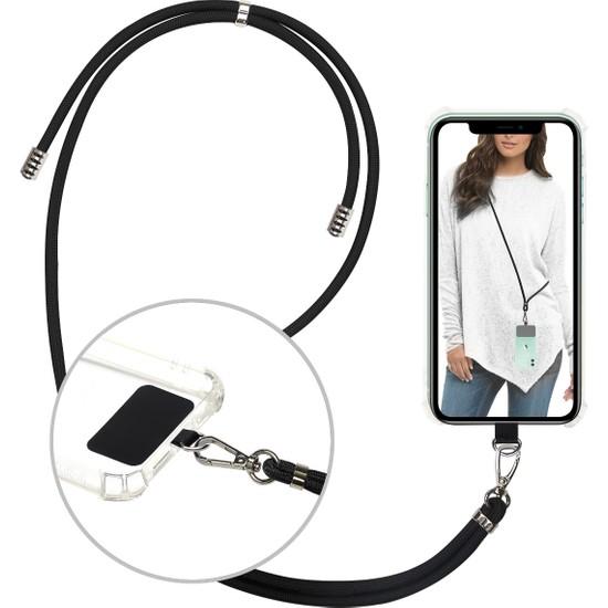 Case 4U Universal Tüm Cep Telefonları ile Uyumlu Boyun Askılı Kılıf Tutucu İpli Aksesuar Siyah