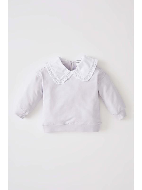 Defacto Kız Bebek Regular Fit Yakalı İçi Yumuşak Tüylü Sweatshirt V5954A221AU