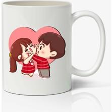 Kupgade Beyaz Sevgililer Günü Baskılı Kupa Bardak