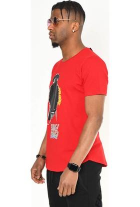 David&Gerenzo Kırmızı Baskı Detaylı Bisiklet Yaka T-Shirt