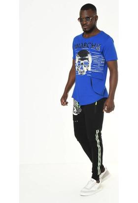 David&Gerenzo Saks Mavisi Kabartma Baskı Detaylı Bisiklet Yaka T-Shirt