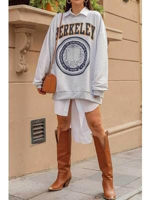 Black Giyim Gri Kadın Berkeley Baskılı Sweatshirt