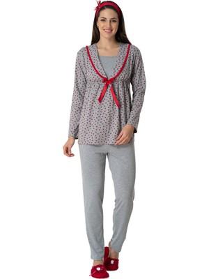 Mecit Pijama Carpediem 1562 Kırmızı Emzirme Özellikli Sabahlıklı Lohusa Pijama Takımı