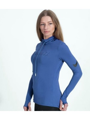 Nike Saks Mavi Renk Just Do It Model Şallı Yaka Süper Slim Fit Dalgıç Kumaş Sweatshirt