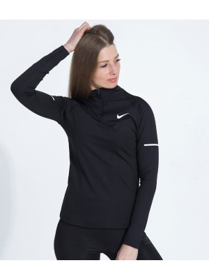 Nike Siyah Renk Dalgıç Kumaş Süper Slim Fit Yarım Fermuarlı Sweatshirt