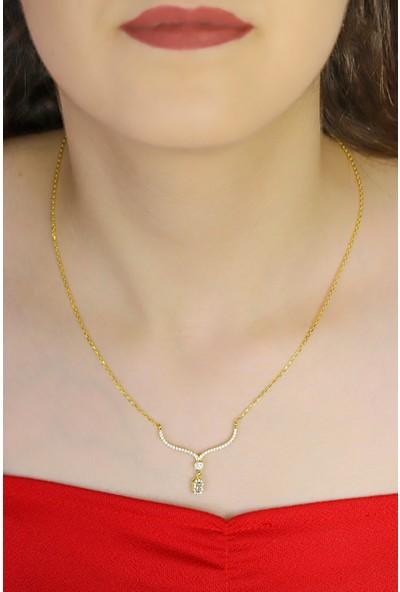 Midyat Gümüş Dünyası Kadın 925 Ayar Gümüş Üzeri Altın Kaplama Baget Taşlı Gümüş Kolye