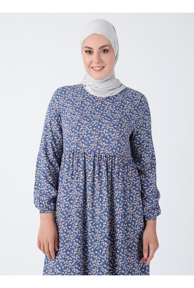 Ecesun Desenli Elbise - Mavi - Ecesun