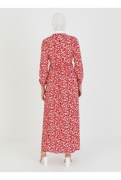 Ecesun Çiçek Desenli Elbise - Kırmızı - Ecesun