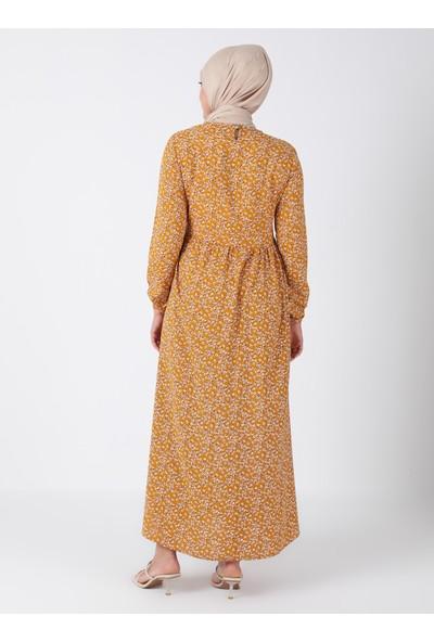Ecesun Desenli Elbise - Hardal - Ecesun
