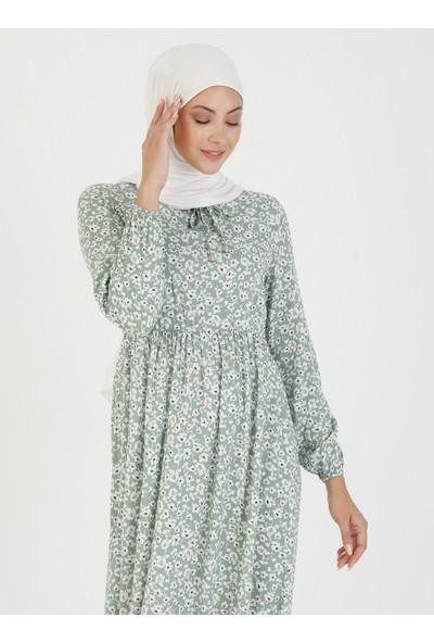 Ecesun Çiçek Desenli Elbise - Yeşil - Ecesun