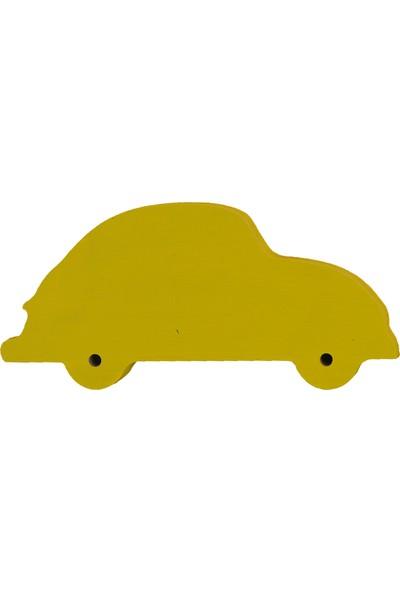 Odeon Sarı Araba Dekoratif Ahşap Duvar Süsü