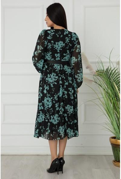 Kalopya Bayan Fırfırlı Düğmeli Uzun Kol Şifon Elbise 22-162