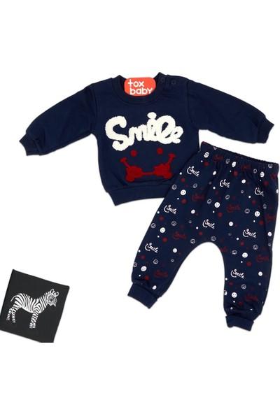 Tox (2 Parça) Smile Nakışlı Lacivert Ikiip Mevsimlik Erkek 2li Bebek Takım (6,9,12 Ay)