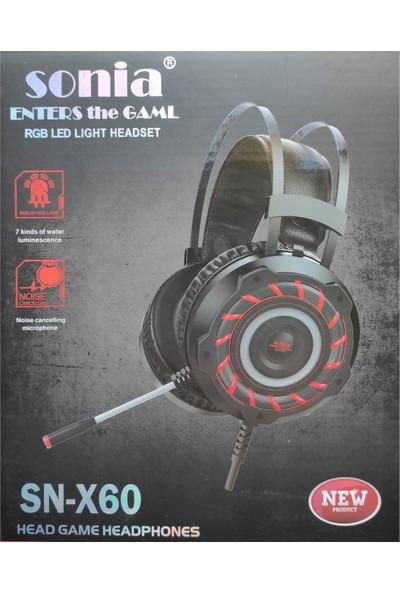 Sonia SN-X60 Usb+3.5mm Jack Stereo Oyuncu Kulak Üstü Kulaklık