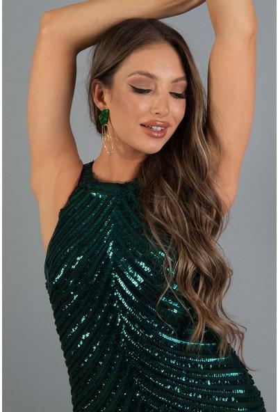 Carmen Yeşil Payetli Önden Yırtmaçlı Kısa Abiye Elbise