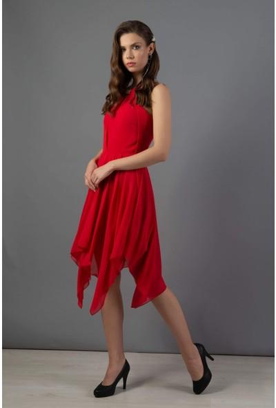 Carmen Kırmızı Krep Asimetrik Etek Nikah Elbisesi