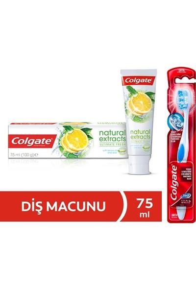 Colgate Natural Extracts Diş Macunu 75 Ml + Colgate Diş Fırçası 360 Visible White Orta