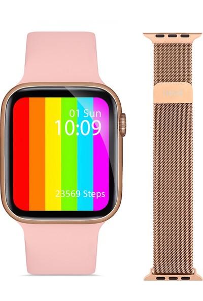 Touche Watch Watch 6 Apple Android Huawei Uyumlu Akıllı Saat Arama Yapma Özellikli Nabız Ölçer +Yedek Kordon