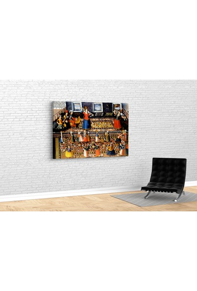 Tablo 360 Franz Hermann- A Scene From Turkish Harem Kanvas Tablo