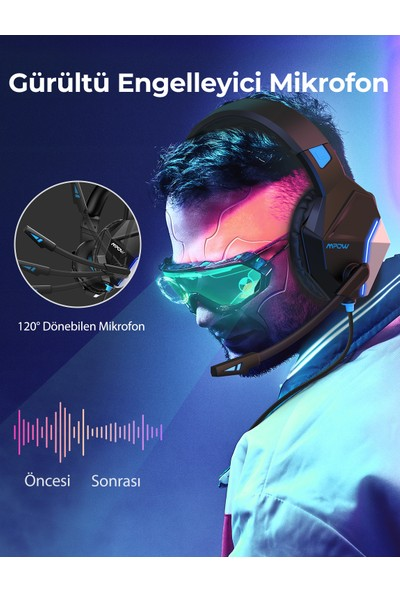 Mpow EG10 7.1 Surround Gürültü Engelleyici Mikrofonlu Surround Oyuncu Kulaklığı PS4/PS5/PC/Xbox Mavi