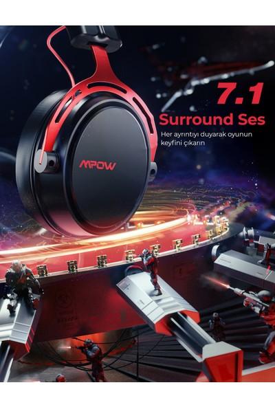 Mpow Air SE 50 mm Sürücü 7.1 Surround Gürültü Engelleyici Mikrofonlu Kablo Üzeri Kontrollü Oyuncu Kulaklığı Kırmızı