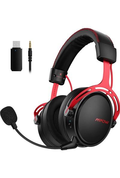 Mpow Air II Kablo Üzeri Kontrollü 3D Surround Kablosuz Oyuncu Kulaklığı PC/PS4/Xbox One/Switch Kırmızı