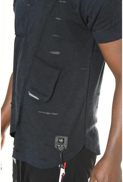 David&Gerenzo Lacivert Logo Aksesuarlı Asimetrik Kesim Detay T-Shirt