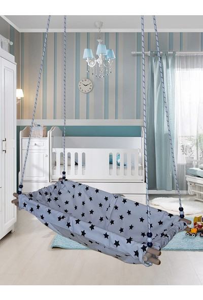 Altev Yıldız Desenli Ahşap Yaylı Zıpzıp Hamak Beşik Hoppala Tavana Asılan Salıncak Bebek Yatağı