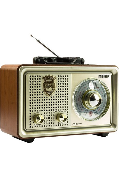 Meier M-110BT Nostaljik Şarjlı Radyo Bluetooth Mp3