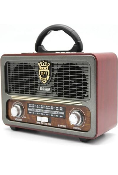 Meier M-111BT Nostaljik Şarjlı Radyo Bluetooth Mp3 Sd