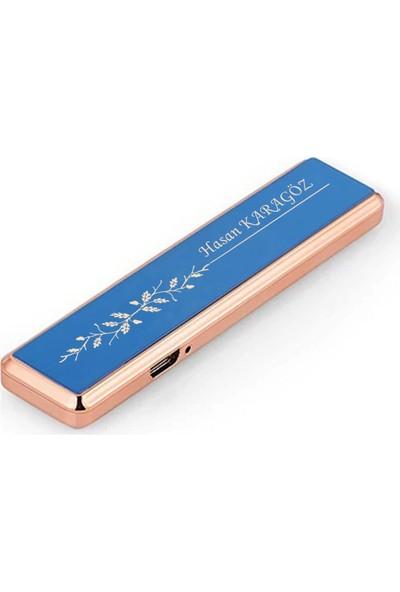 Hediyehanesi Kişiye Isme Özel USB Şarjlı Alevsiz Elektronik Çakmak Mavi M01