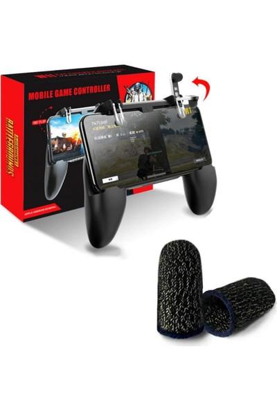 Alp Collection Pubg W10 Oyun Konsolu Gamepad Tetik ve Siyah Parmak Eldiven Set