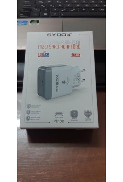 Syrox 18W Pd Type-C Hızlı Şarj Adaptörü, Apple Macbook Pro,android ve Ios Uyumlu - Aynı Güne Kargo -