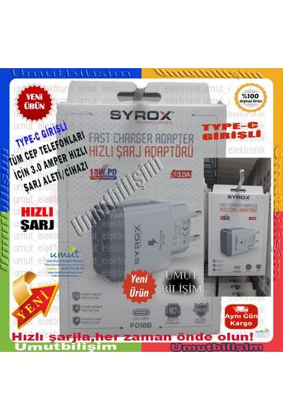 Syrox 18W Pd Apple Nesil Şarj Adaptörü USB Type-C 18W Pd Hızlı Beyaz Ev Şarj Adaptör