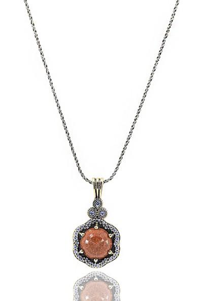 Midyat Gümüş Dünyası Otantik Gümüş Yıldız Tozu Taşlı Çiçek Model Kolye