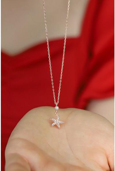 Midyat Gümüş Dünyası Kadın 925 Ayar Gümüş Üzeri Rose Kaplama Yıldız Model Gümüş Kolye