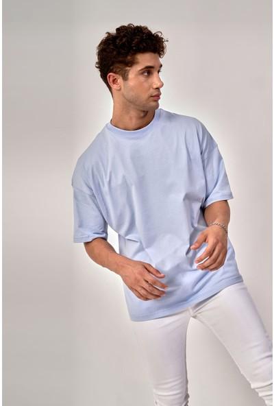 By Tümer Bytümer Baskısız Mavi Oversize Erkek Tişört