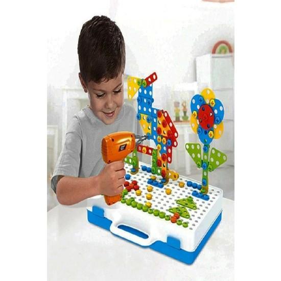 Toyshome Matkaplı Vidalama ve 3D Yaratıcı Mozaik Puzzle 340 Parça Creative Portable Box Yapı Oyunu