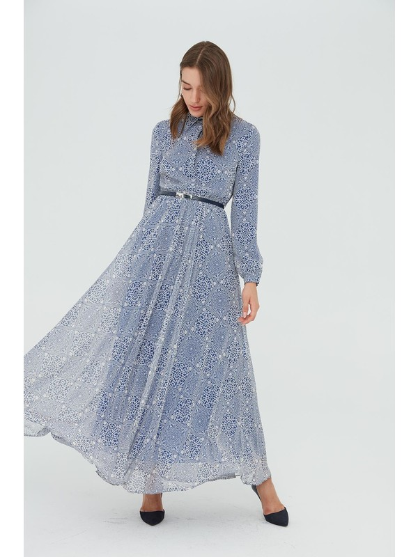 Sitare Şifon Desenli Elbise 21Y1119