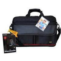 """M&W NB E-500 Prestij 15.6"""" Siyah Notebook Çantası + MW Optik Kablolu Mouse Hediye"""