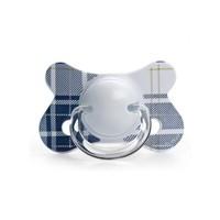 Suavinex 3801225 Fusion Fizyolojik Silikon Emzik 3801225 Mavi Ekose Desenli