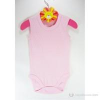 Sema Baby Jakarlı Askılı Badi (Body) Pembe
